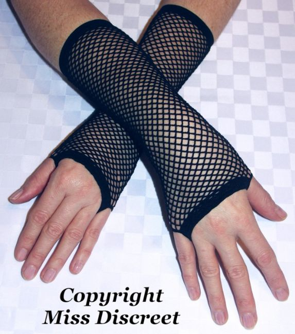 Women's Black Fishnet Fingerless Gloves Arm Sleeves Fancy Dress- Goth - Retro Style